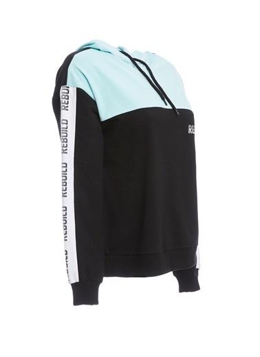 DeFacto Yazı Baskılı Sweatshirt Siyah